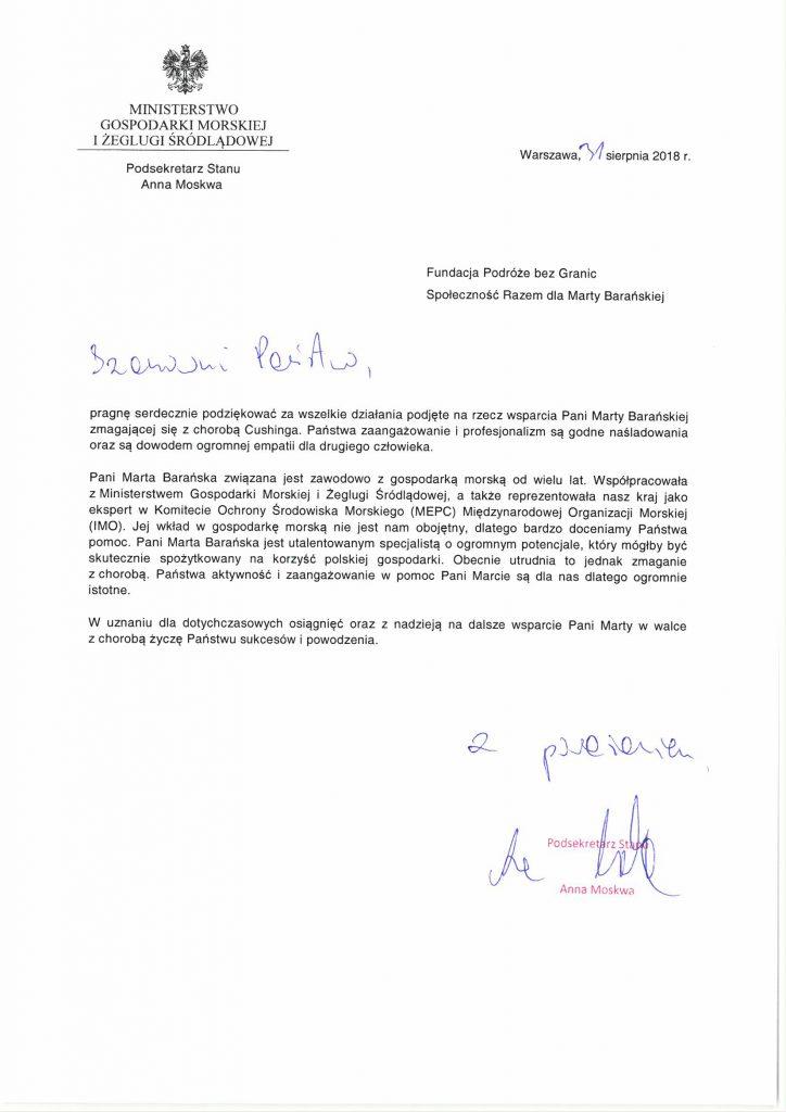 list poparcia z ministerstwa